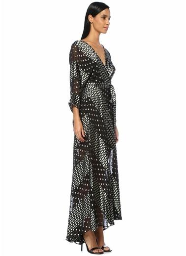 Diane Von Furstenberg Puantiyeli Maksi İpek Anvelop Elbise Siyah